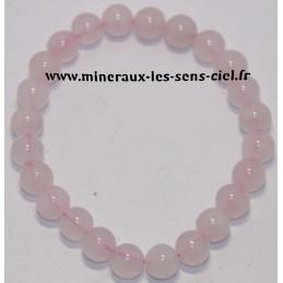 Bracelet boules 8mm pierre quartz rose