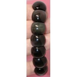 Bracelet plaquette demi ronde pierre Obsidienne Oeil Céleste