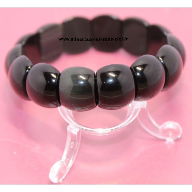 Bracelet Bombé pierre Obsidienne Oeil Céleste