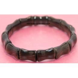 Bracelet Bambou pierre Obsidienne Dorée