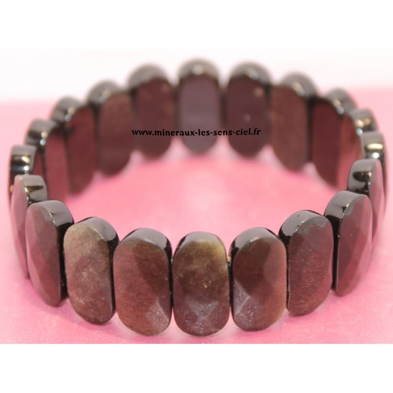 Bracelet plaquette ovale facettée pierre Obsidienne dorée