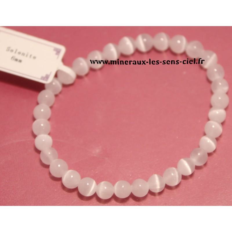 Bracelet Boules 6mm pierre Sélénite Blanche