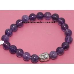 Bracelet Boules 8mm pierre Améthyste avec Bouddha