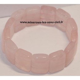 Bracelet plaquette large Quartz Rose du Madagascar