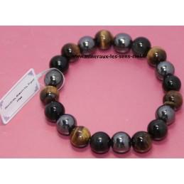 Bracelet Boules 10mm pierre Obsidienne Oeil Céleste, Hématite et Oeil de Tigre