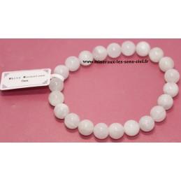 Bracelet Boules 8mm pierre de lune Blanche