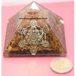 Pyramide en Orgonite avec pierres Oeil de Tigre et l'Archange Métatron