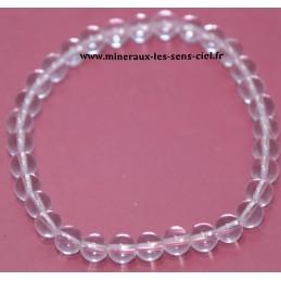Bracelet boules 6mm pierre Cristal de roche ou Quartz