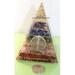 Pyramide en Orgonite avec pierres 7 chakras et Fleur de vie