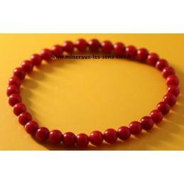 Bracelet Boules 6mm pierre Corail rouge