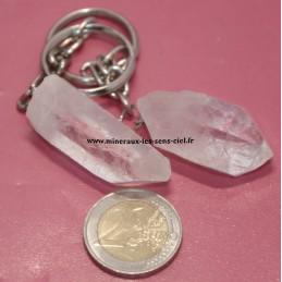 Porte clé pointe cristal de roche ou quartz brute