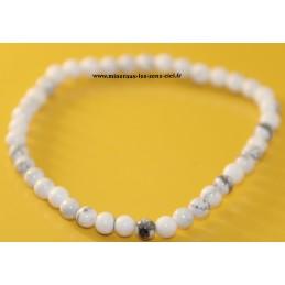 Bracelet boules 4mm pierre howlite blanche