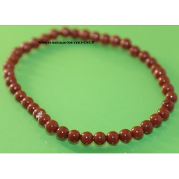 Bracelet boules 4mm pierre jaspe rouge poli