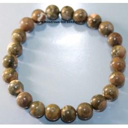 Bracelet boules 8mm pierre rhyolite poli