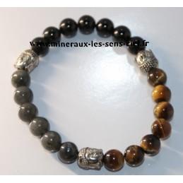 Bracelet boules 8mm pierre labradorite, oeil de tigre, obsidienne oeil céleste et 3 bouddhas