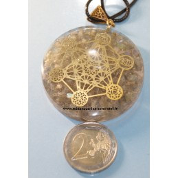 Pendentif rond Orgonite pierre Labradorite avec Archange Métatron