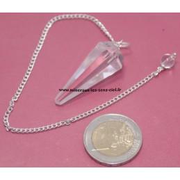 Pendule cône facetter en pierre quartz ou cristal de roche
