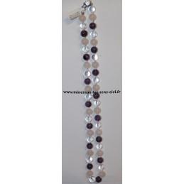 Collier boules 10mm pierre améthyste - Quartz rose et Cristal de roche - 60 centimètres