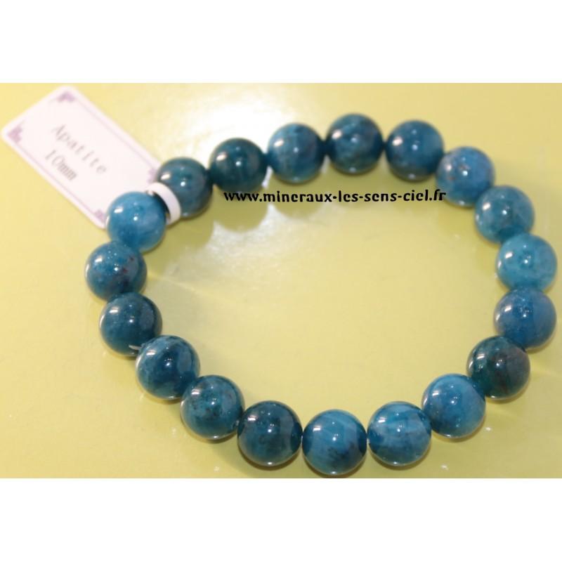 Bracelet boules 10mm pierre apatite bleue