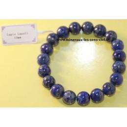 Bracelet boules 10mm pierre lapis lazuli d'Afghanistan