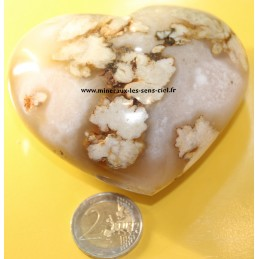 Coeur en pierre agate de fleur de Madagascar