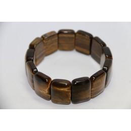 Bracelet plaquette large Oeil de Tigre