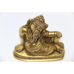 Ganesh couché vieilli des Indes en Laiton