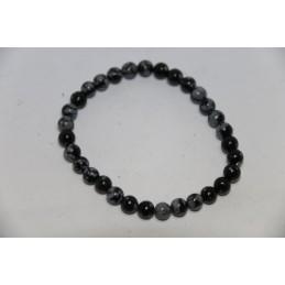 Bracelet Boules 6mm Obsidienne à Flocon de Neige