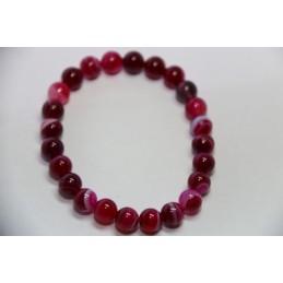 Bracelet Boules 8mm Agate Rose