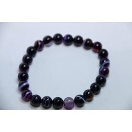 Bracelet Boules 8mm Agate Violette