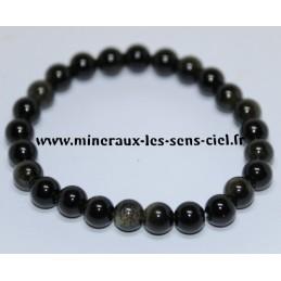 Bracelet Boules 8mm Obsidienne Doré